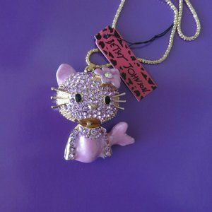Betsey Johnson Kitty Cat Mermaid Pendant Necklace…